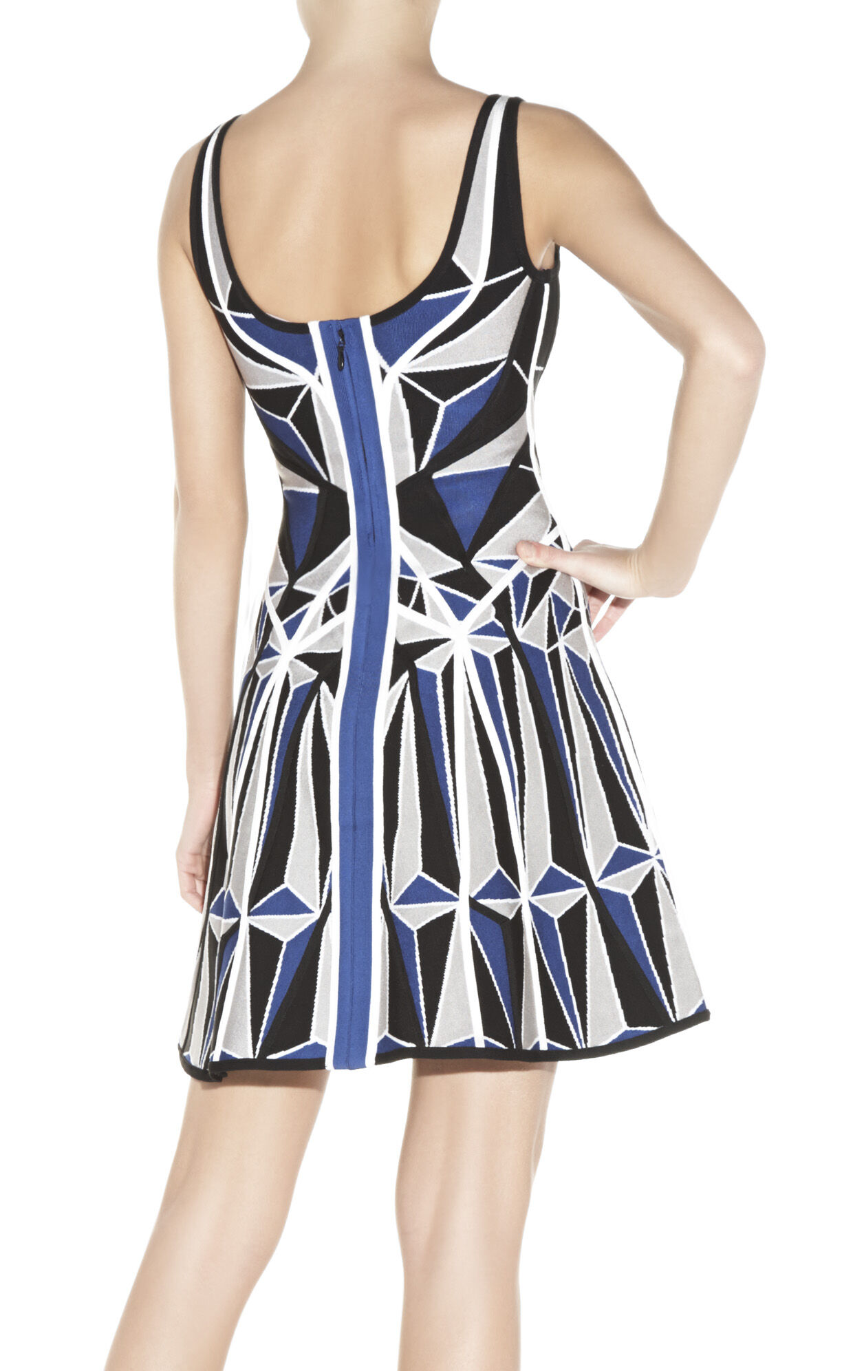 Hazel Geometric Patchwork Jacquard Dress
