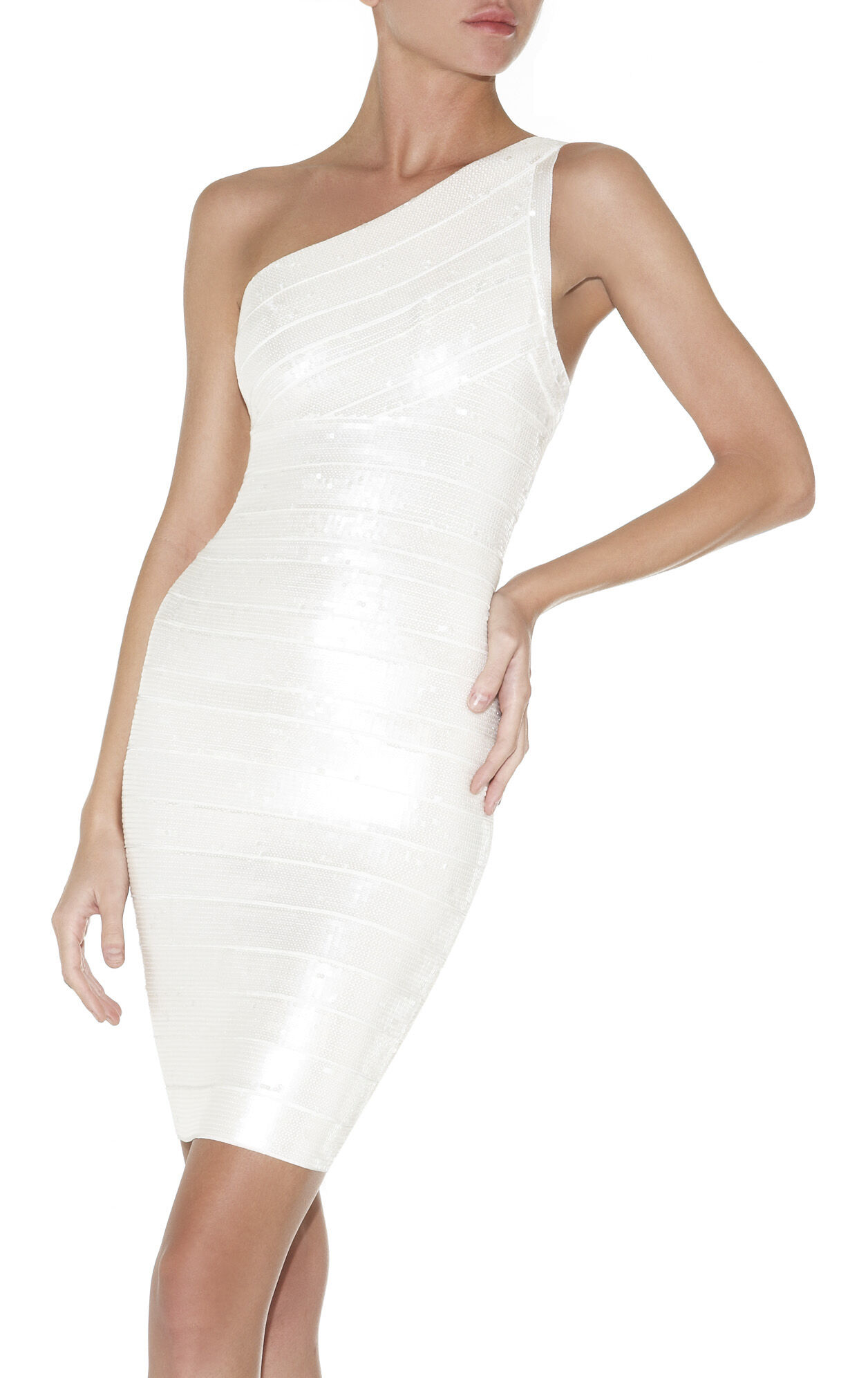 Pauline Sequined One-Shoulder Bandage Dress