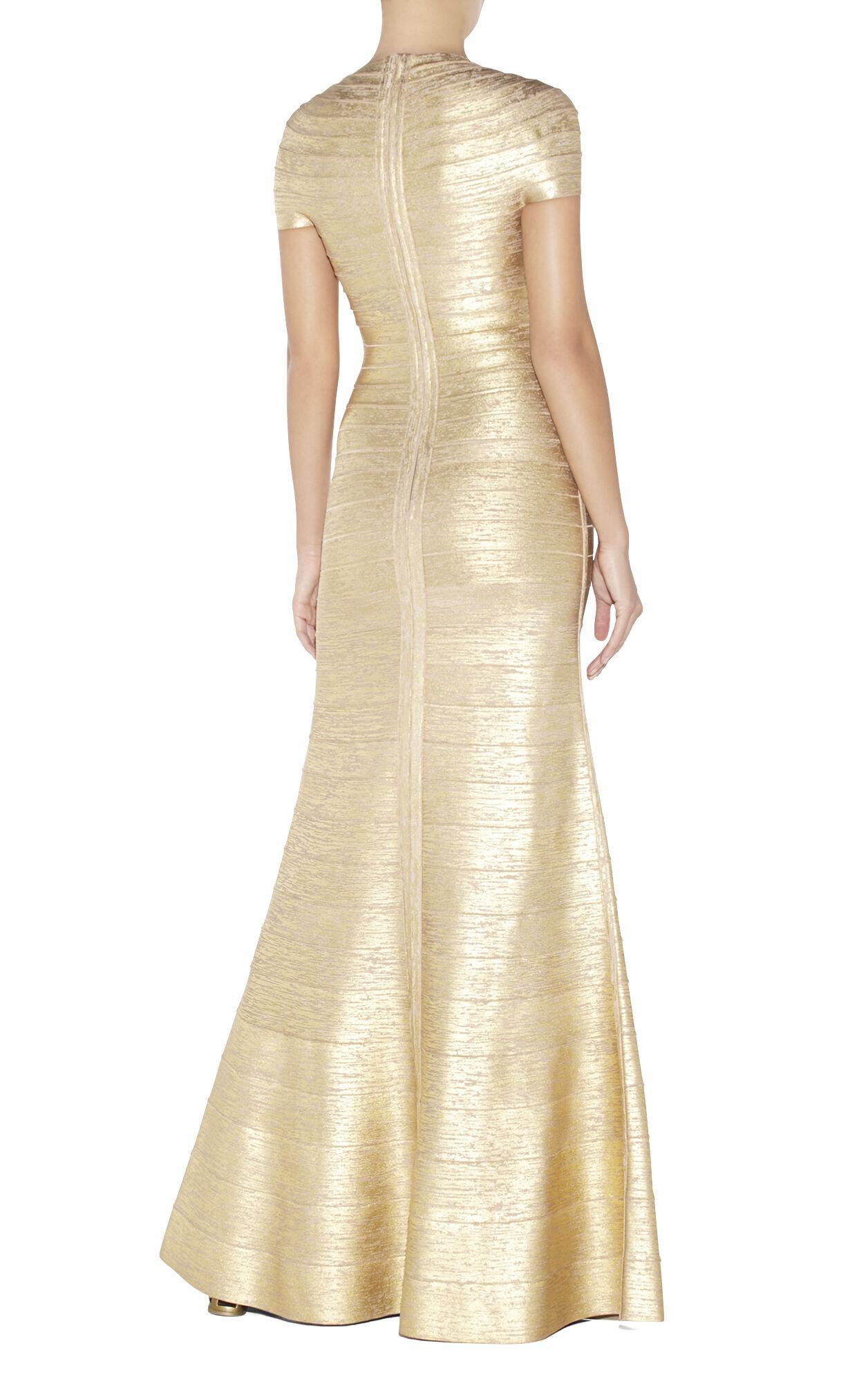 Lora Woodgrain Foil Bandage Gown