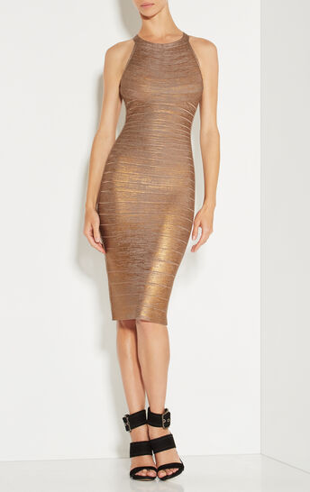 Renata Woodgrain Foil Print Dress