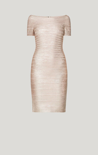 Carmen Woodgrain Foil Bandage Dress