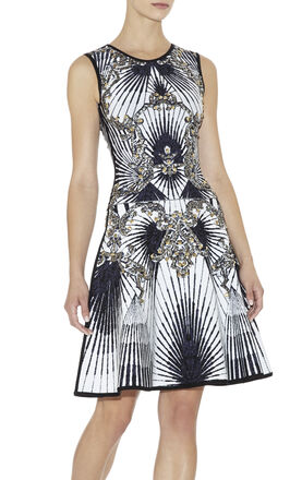Alexis Scroll Jacquard Studded Dress