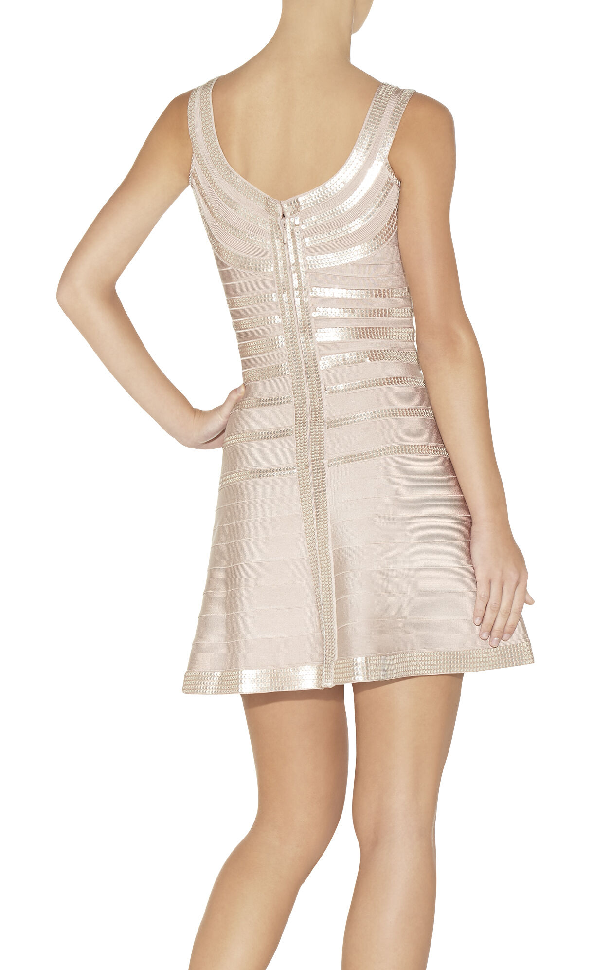 Sachie Stacked Leather Sequined Dress