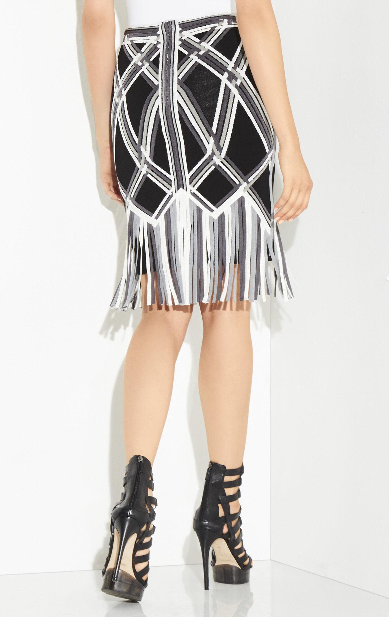 Franceska Basket Weave Fringe Jacquard Skirt