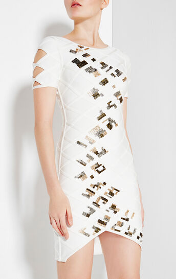Cambree Diamond Quilting Beaded Dress