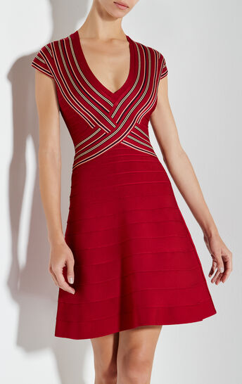 Noa Jacquard Stripe Detail Dress