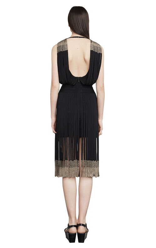 Kym Metallic Fringe Bandage Dress