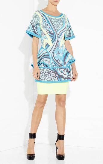 Makenna Contrast Detail Tidal Wave Jacquard Dress
