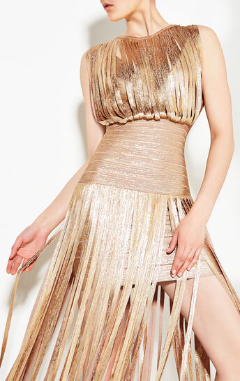 Selena Foil Draped Bandage Dress