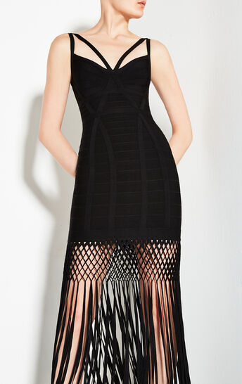Nadia Lattice Draped Fringe Dress