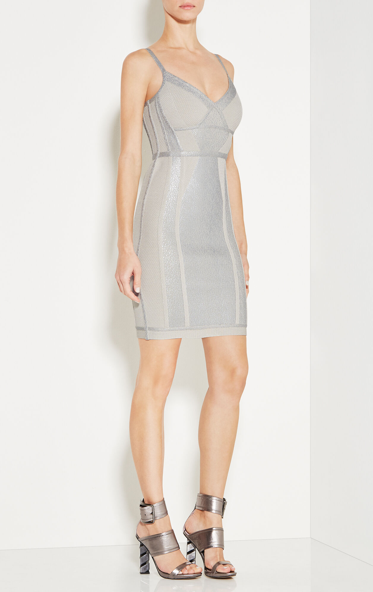 Jener Crackled Metallic Foil Dress