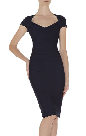 Raquel Scalloped-Edge Dress