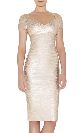 Kelis Woodgrain Foil Printed Dress