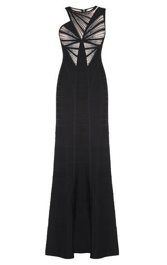 Halle Leather Sequin Sunburst Beaded Dress