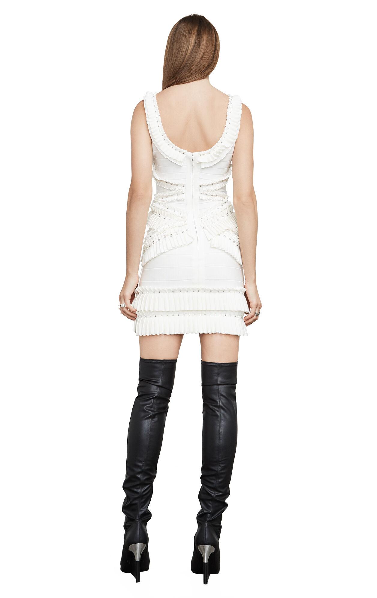 Jessa Embellished-Pleat Off-Shoulder Body-Con Dress