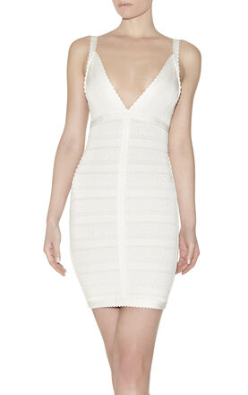 Billie Lace-Stitched Scalloped-Trim Dress