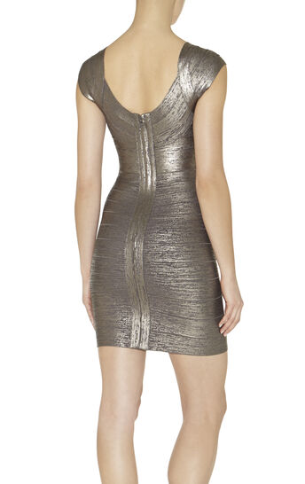 Ebony Woodgrain Foil-Print Dress