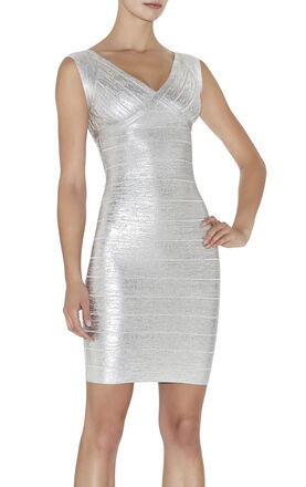 Karima Woodgrain Foil-Print Dress