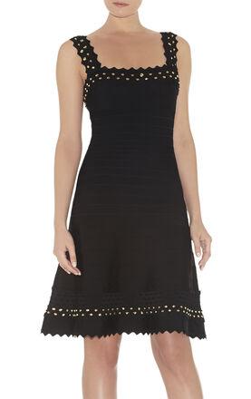Faith Studded Honeycomb Jacquard Dress