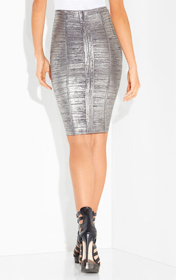Angeline Metallic Foil Pencil Skirt