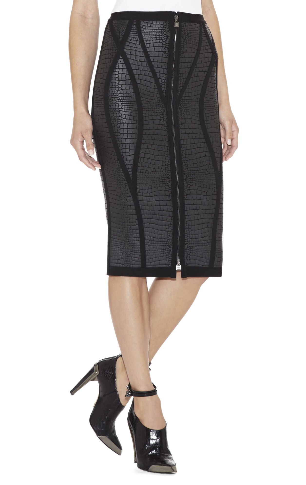 Blanca Crocodile-Print Pencil Skirt