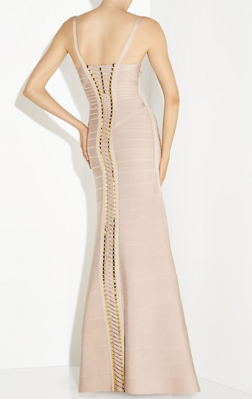 Annalise Blocked Lace-Up Bandage Beaded Gown