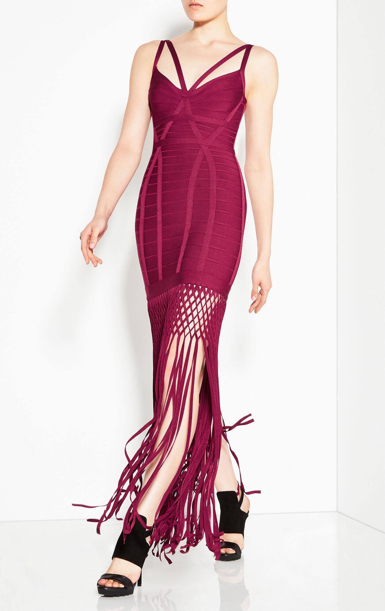 Nadia Lattice Draped Fringe Dress