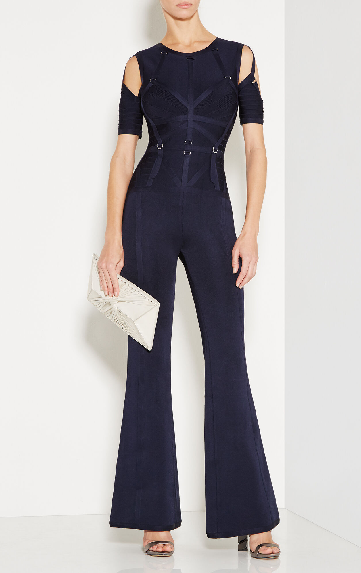 Kenddal Ribbon Bandage D-Ring Jumpsuit