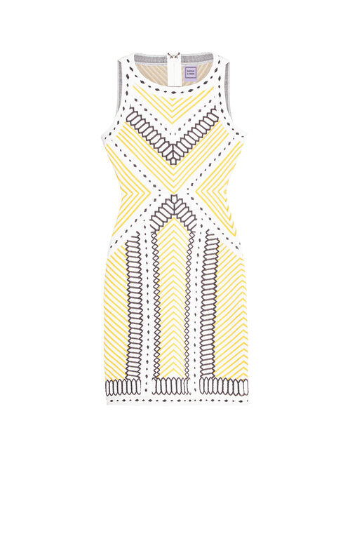 Lylah Geometric Raised Jacquard Dress