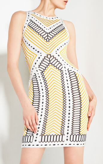 Lylah Geometric Raised Jacquard Dress
