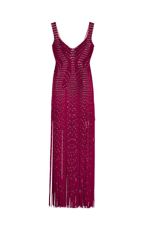 Farrah Eyelet Fringe Gown