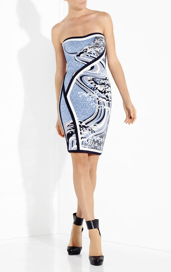 Yoko Contrast Detail Tidal Wave Jacquard Dress