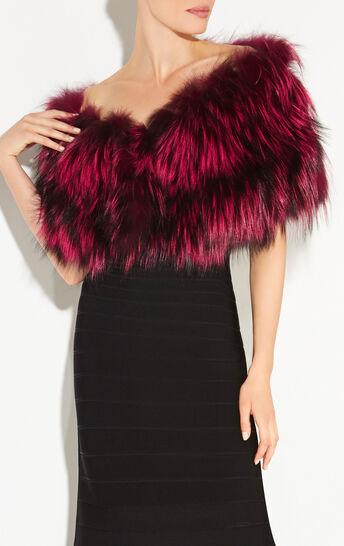 Chevron Fur Leather Stole