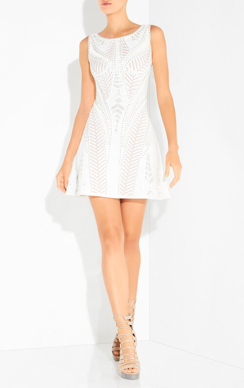 Kennidi Mosaic Lacing Stud Detail Dress