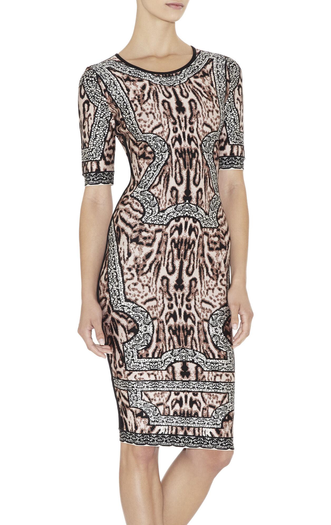 Zola Ocelot and Antique-Lace Jacquard Dress