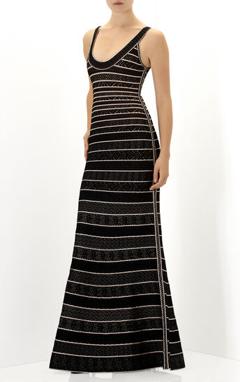 Filipa Multi Chevron Textured Tipping Gown