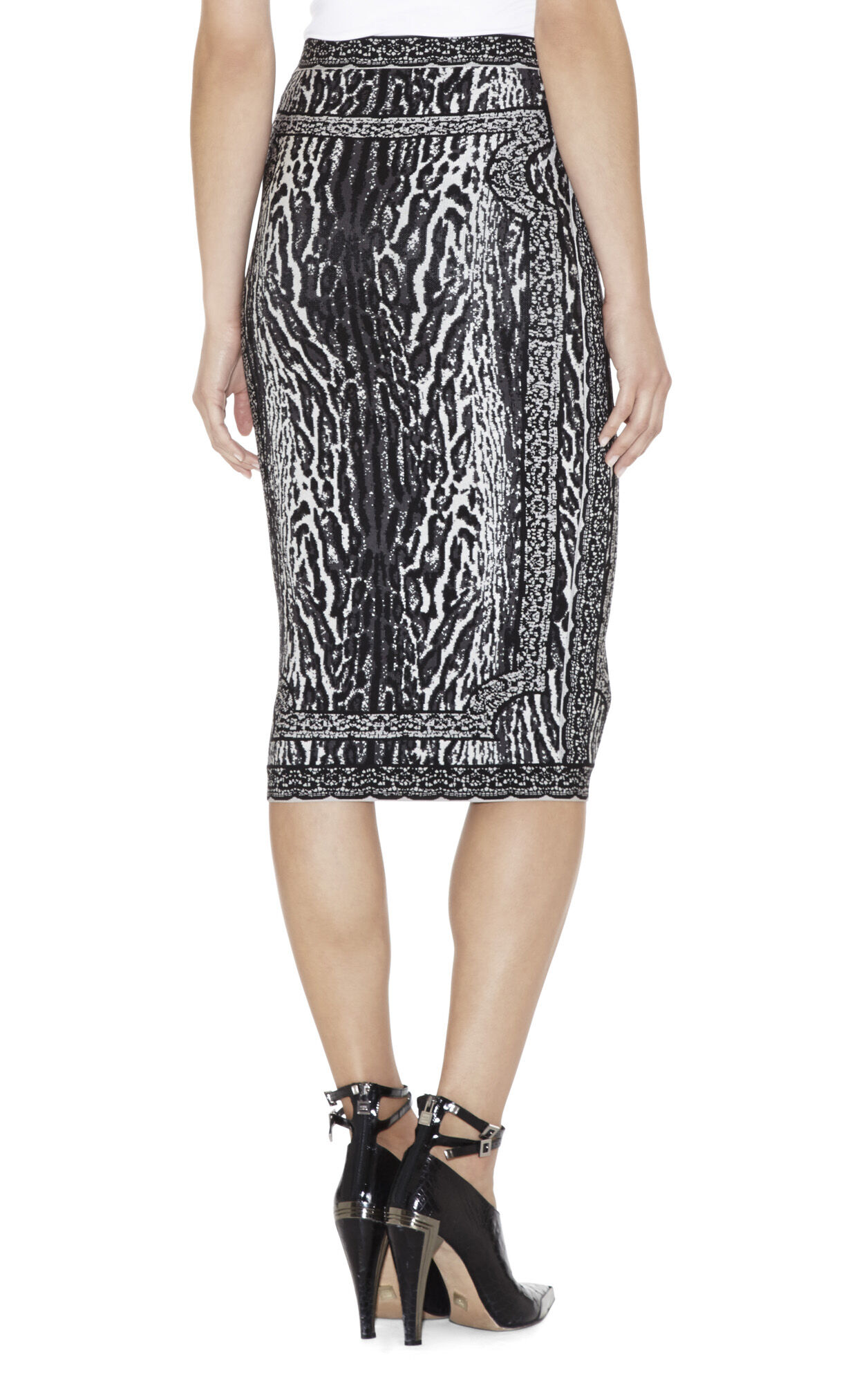 Rocha Ocelot and Antique-Lace Jacquard Skirt