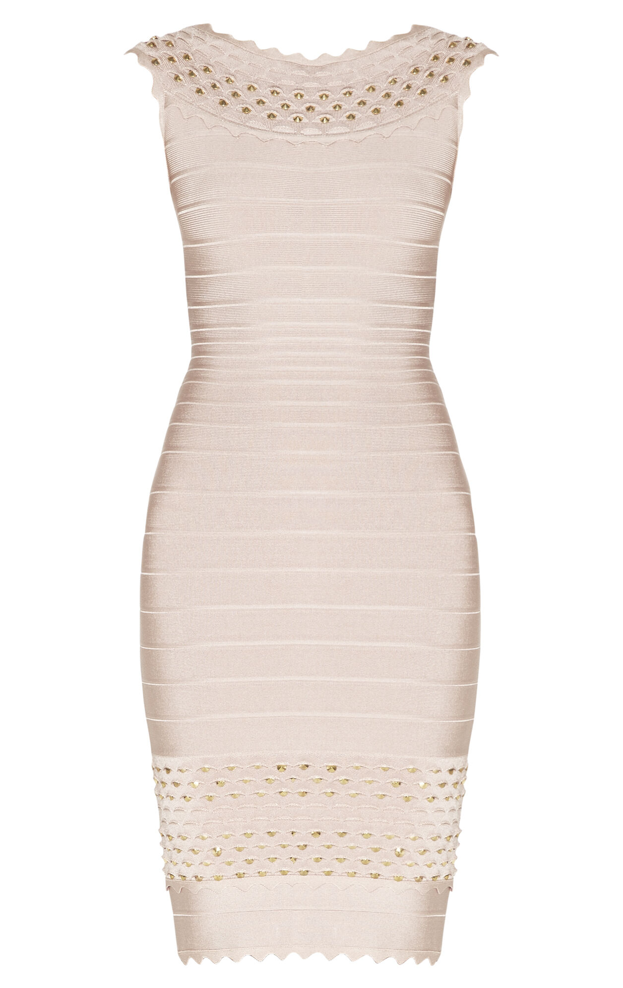 Ardell Studded Honeycomb Jacquard Dress