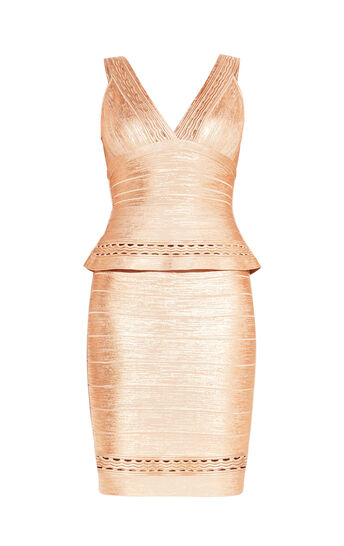 Paola Marcelina Ottoman Foil Cutout Dress