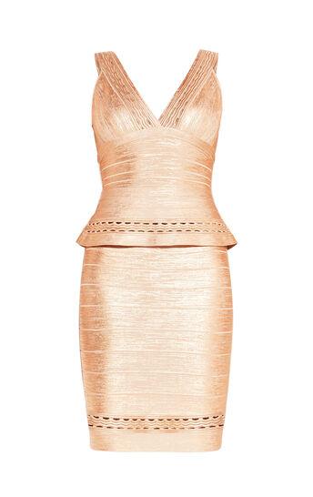 Paola Marcelina Ottoman Foil Cutout Dress