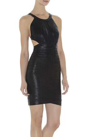 Marina Woodgrain Foil-Print Dress