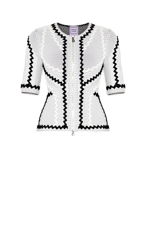 Mar Pointelle Zigzag Applique Jacket