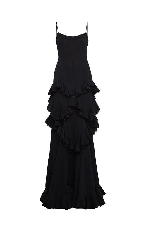 Adaire Ruffled Sheer Chiffon Gown