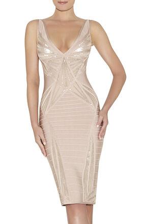 Christy Leather Sequin Sunburst Beaded Dress