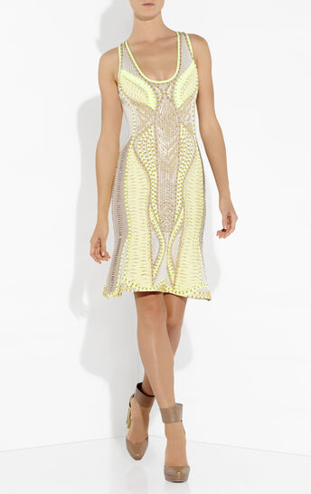 Catalonia Multi Embellishment Blocked Mesh Dress