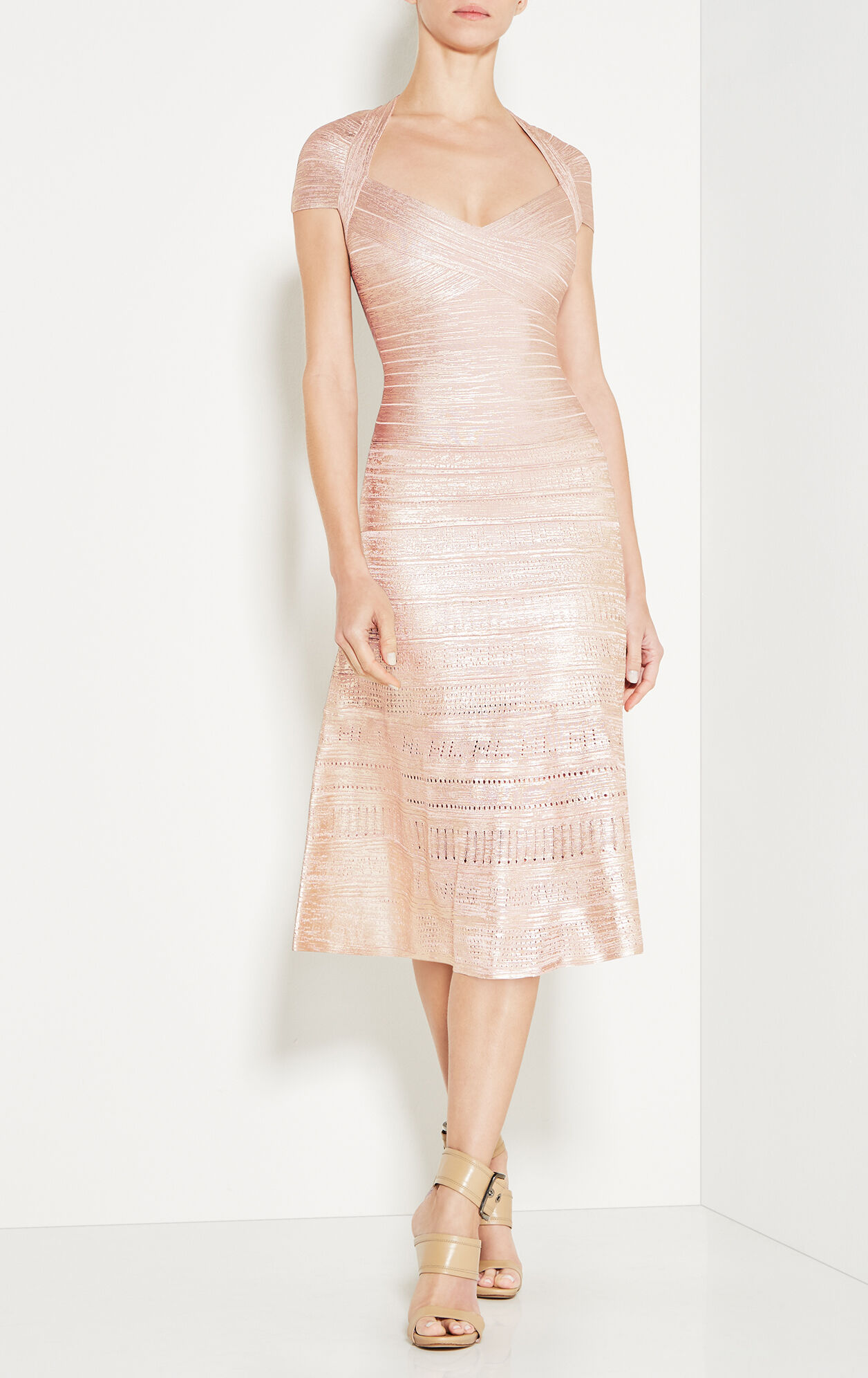 Emilia Metallic Foil Pointelle-Trimmed Dress