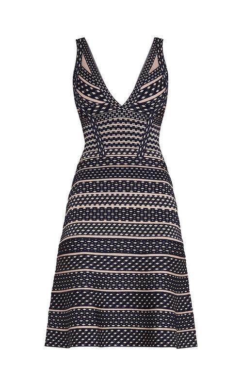 Cecile Jacquard Mesh Flute Dress