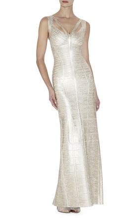 Alenis Woodgrain Foil-Print Dress