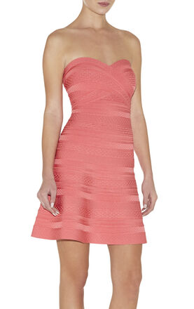 Akari Embossed-Texture Bandage Dress