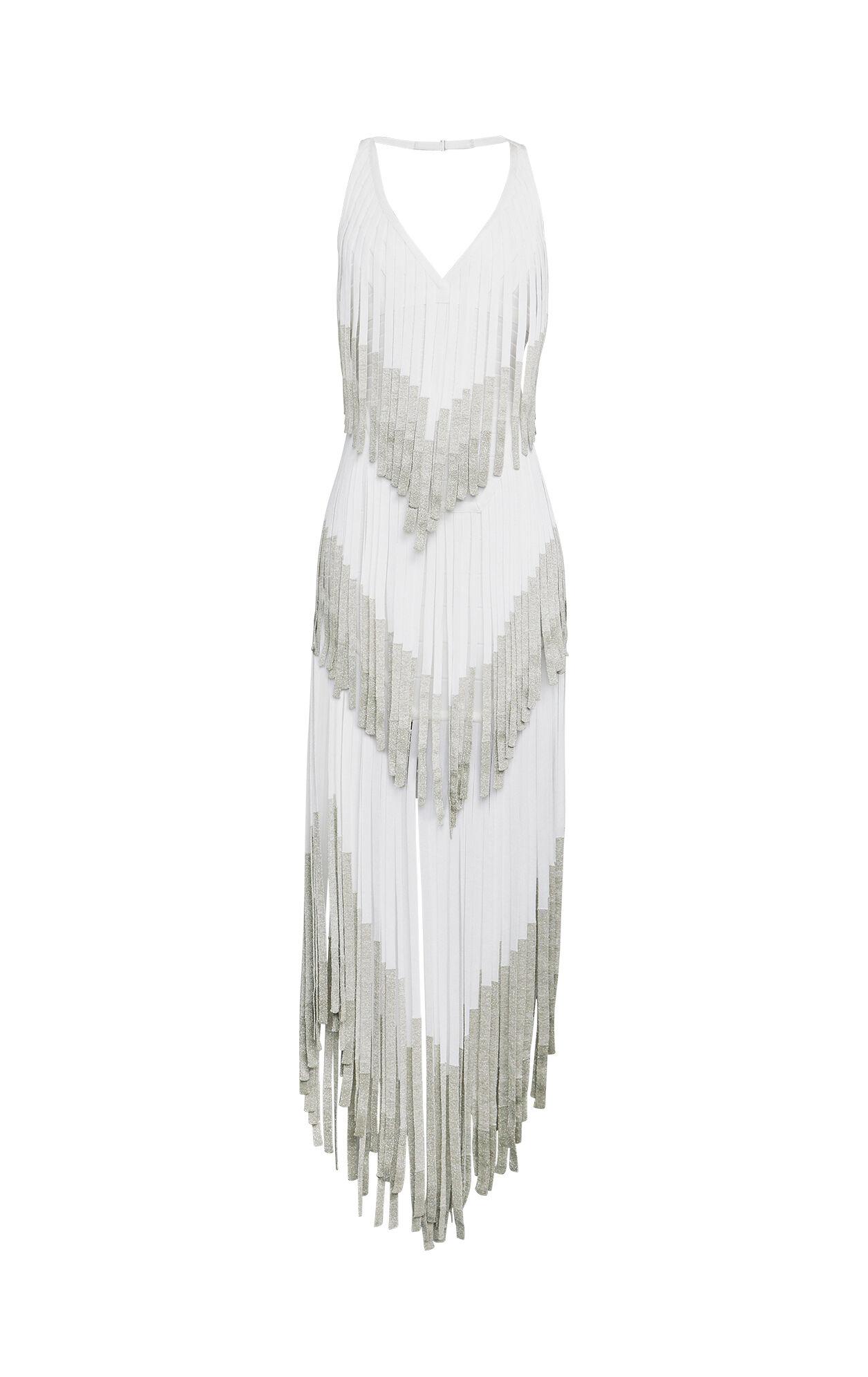 Izabel Metallic Fringe Bandage Dress